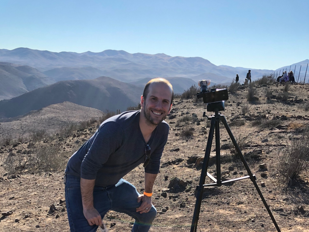 Astronomy tour guide Colin Stuart during the 2019 solar eclipse in Chile