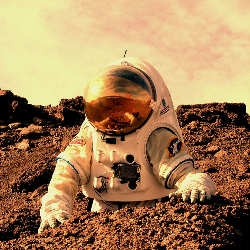 An astronaut on the surface of Mars, par t of an author visit and KS2 space science talks