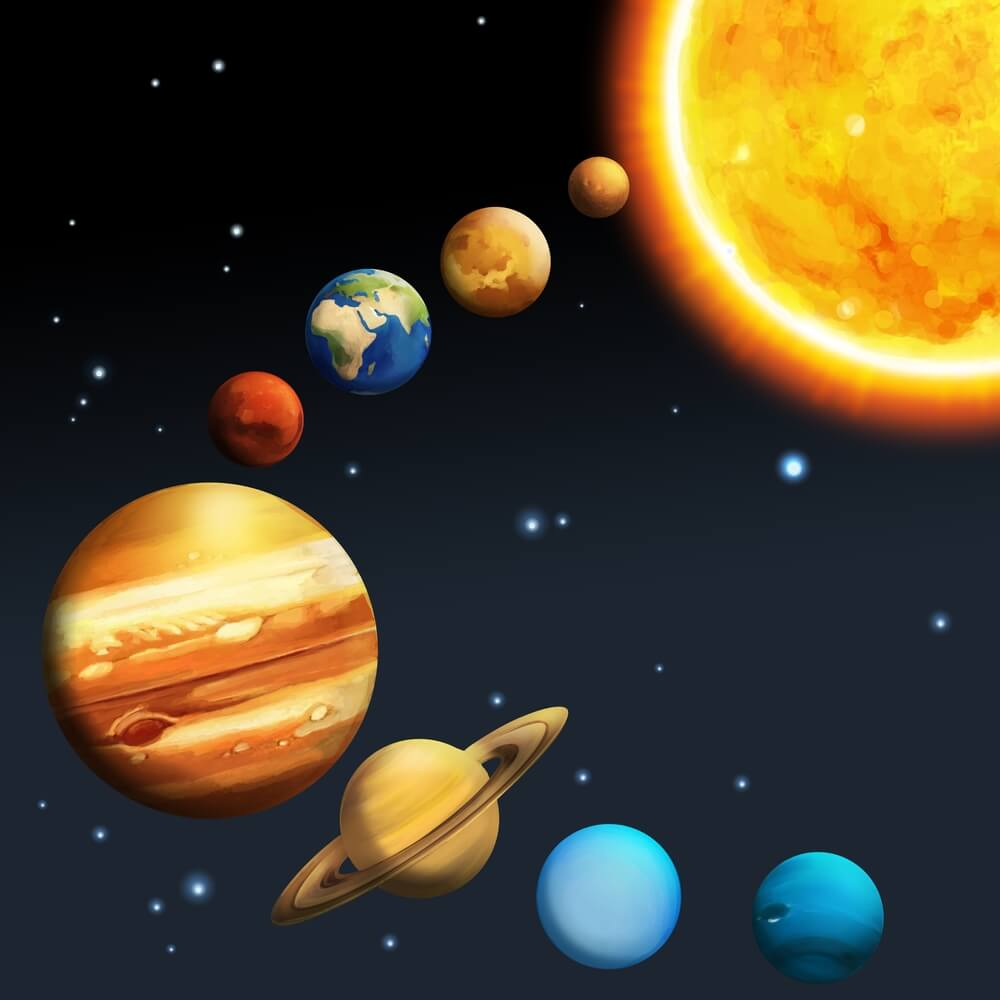 The Sun and its family of eight planets, part of Colin Stuart's primary school space science talks